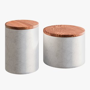 realistic ishi marble canisters 3D model