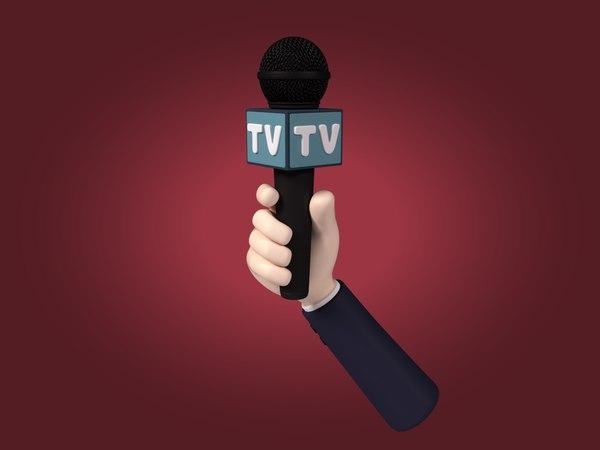 3D cartoon hand microphone model