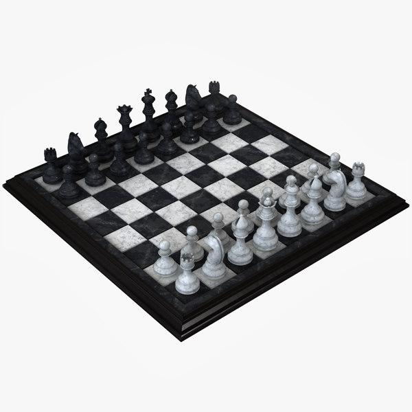 realistic chess set 3D model