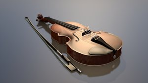 3D violin wooden string instrument