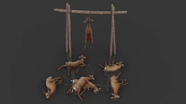 3D model deer dead