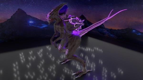 3D maxosaurus creature alien reptile