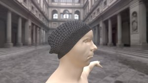 3D model knitted hat 2 lods