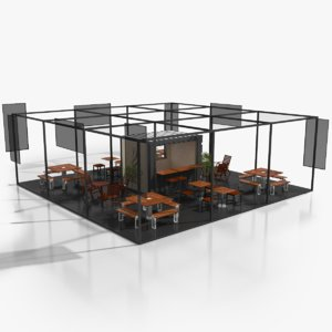 container coffee terrace 3D