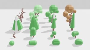 4 season trees bushes 3D model