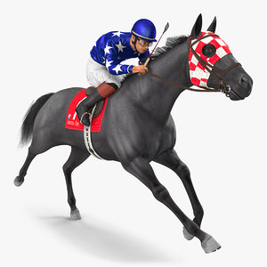 black racing horse running 3D model