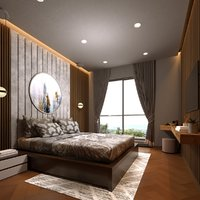 3D model realistic bedroom interior