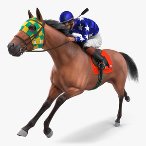 3D bay racing horse running