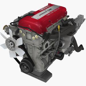 parts nissan sr20det red 3D model