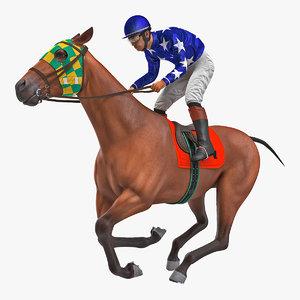 bay racing horse gallop 3D model