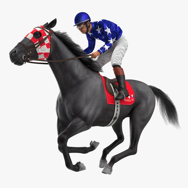 3D model gallop black racing horse