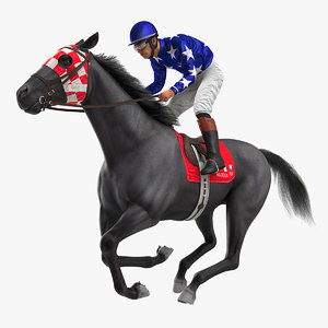 3D model gallop black racing horse