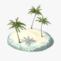 tropical island palms 3D model