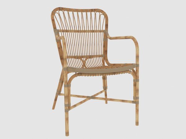 retro rattan dining armchair 3D model