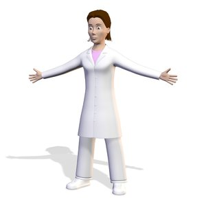 female scientist woman character 3D