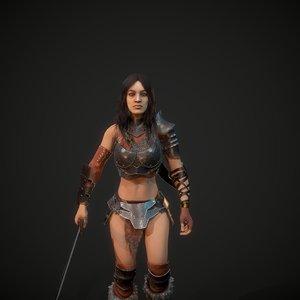 3D character warrior maiden model
