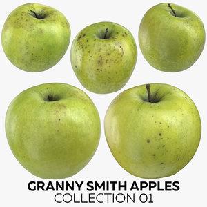 3D granny smith apples 01