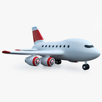 cartoon toy airplane airliner 3D model