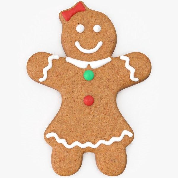 3D model christmas gingerbread woman
