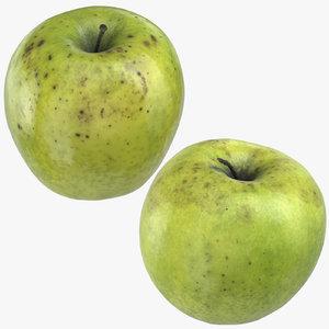 3D granny smith apples 03 model