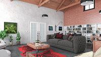 3D model modern living room