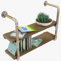 3D model shelf books cactus