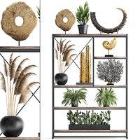 Shelf rack with decor and plants 14