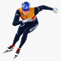 animations speed skater 3D model