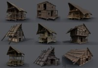 Enterable Medieval Fantasy Village - Huts and Houses Package