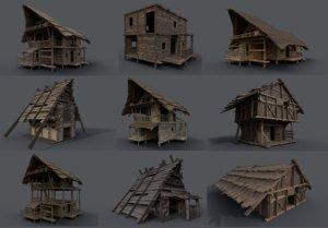 package medieval fantasy village 3D model