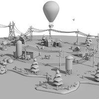 cartoon clay farm city 3D model