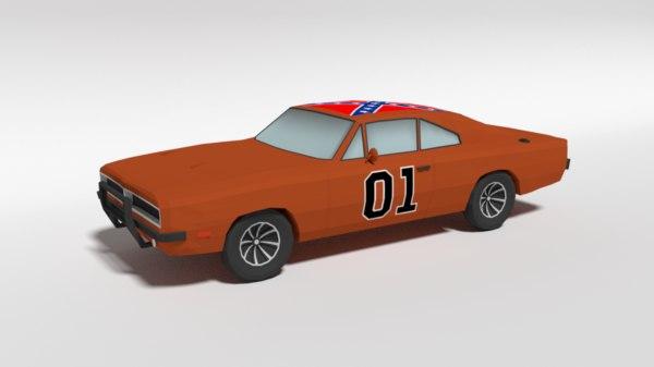 dodge charger car general lee 3D model