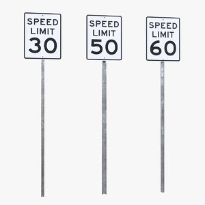 3D model speed limit signs