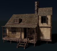 house interior scary rigged model