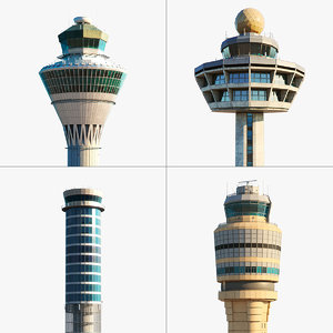 3D air control towers model