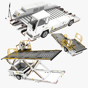 3D airport container transporter bagage model