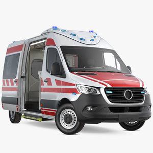 paramedic ambulance rigged 3D model