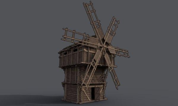 3D medieval wooden fantasy windmill model