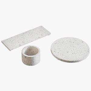 realistic terrazzo serving pieces 3D model