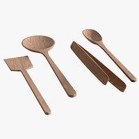realistic walnut utensils 3D
