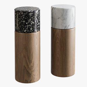 3D realistic walnut marble grinder