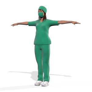 3D female nurse doctor dr model