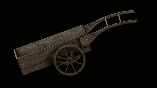 old cart wooden 3D model
