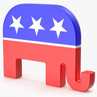 3D logo republican party model