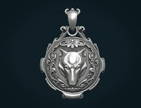 print ready wolf pendant 3D