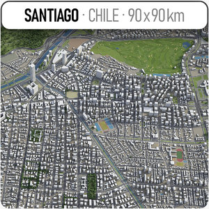 santiago surrounding area - 3D model