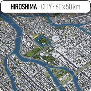 3D hiroshima surrounding area - model