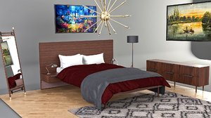 bedroom set bed 3D