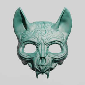 3D cat skull mask printing