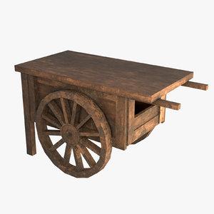 pbr wooden cart street 3D model